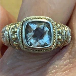 SS/14K/Green Amethyst (Prasiolite) Ring - Size 6